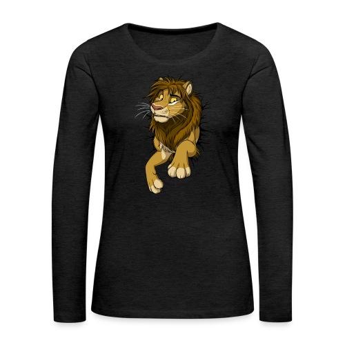 STUCK Lion (black cracks) - Women's Premium Slim Fit Long Sleeve T-Shirt