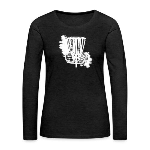 Disc Golf Basket White Print - Women's Premium Slim Fit Long Sleeve T-Shirt