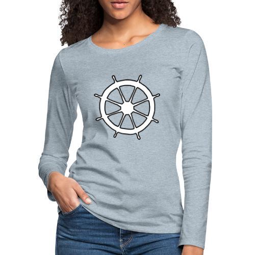 Steering Wheel Sailor Sailing Boating Yachting - Women's Premium Slim Fit Long Sleeve T-Shirt