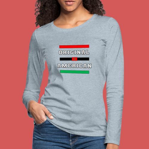 Original American Bars Moorish American Flag - Women's Premium Slim Fit Long Sleeve T-Shirt