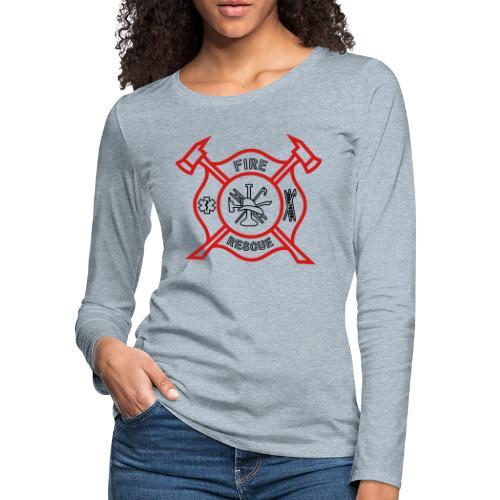 Fire Rescue - Women's Premium Slim Fit Long Sleeve T-Shirt