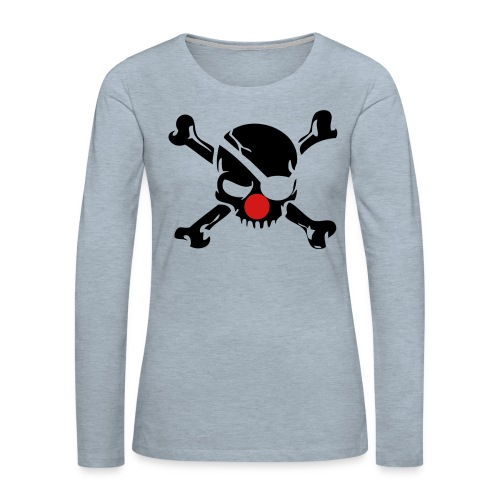 Clown Jolly Roger Pirate - Women's Premium Slim Fit Long Sleeve T-Shirt