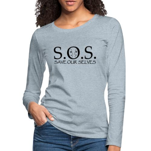 SOS Black on Black - Women's Premium Slim Fit Long Sleeve T-Shirt