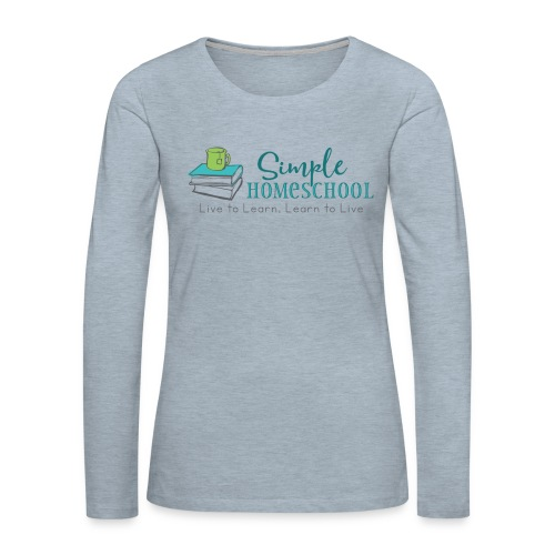 Simple Homeschool Logo with Motto - Women's Premium Slim Fit Long Sleeve T-Shirt