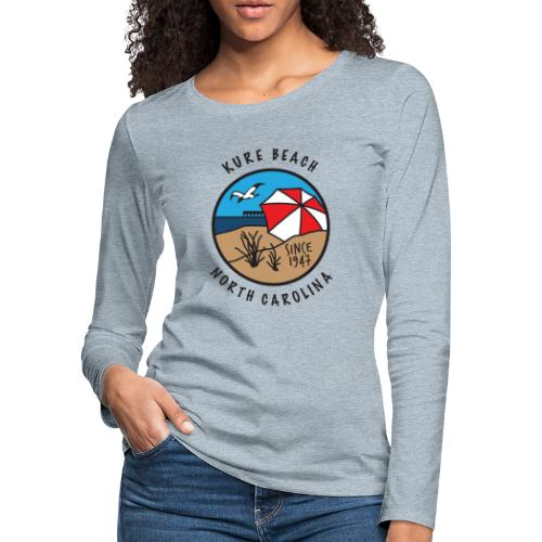 Kure Beach Day-Black Lettering-Front Only - Women's Premium Slim Fit Long Sleeve T-Shirt