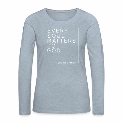 ESMTG White - Women's Premium Slim Fit Long Sleeve T-Shirt