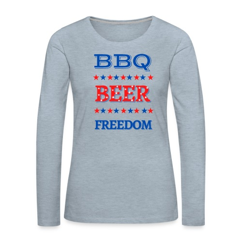 BBQ BEER FREEDOM - Women's Premium Slim Fit Long Sleeve T-Shirt