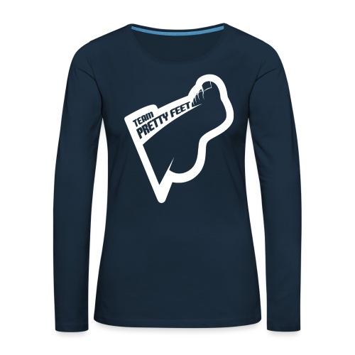 TEAM PRETTY FEET White Foot Logo - Women's Premium Slim Fit Long Sleeve T-Shirt