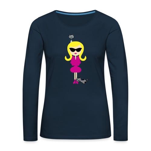 Modern Stylish Girl w/ Sunglasses + Cute Cats! - Women's Premium Slim Fit Long Sleeve T-Shirt