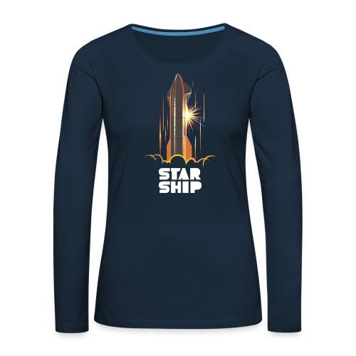 Star Ship Mars - Dark - Women's Premium Slim Fit Long Sleeve T-Shirt