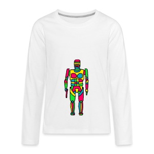 Cartoon Robocop in Color - Kids' Premium Long Sleeve T-Shirt