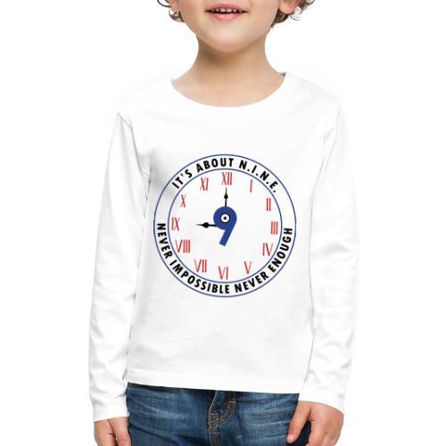NINE Logo v2 2018 blue Outlines Red Numbers - Kids' Premium Long Sleeve T-Shirt