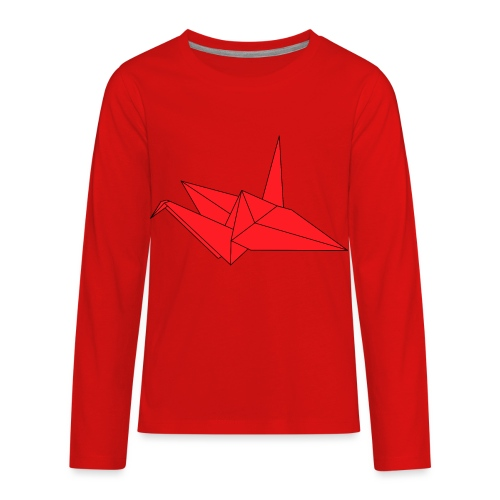 Origami Paper Crane Design - Red - Kids' Premium Long Sleeve T-Shirt