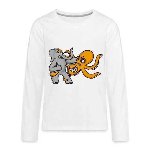 Elephant vs. Octopus T-Shirt - Kids' Premium Long Sleeve T-Shirt