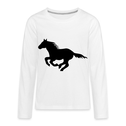 pony horse unbridled wild mustang unbridled rider - Kids' Premium Long Sleeve T-Shirt