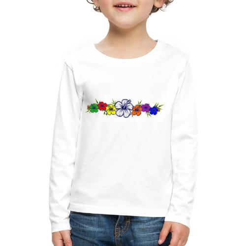 Colorful Hibiscus Flowers and Bamboo Shoot - Kids' Premium Long Sleeve T-Shirt