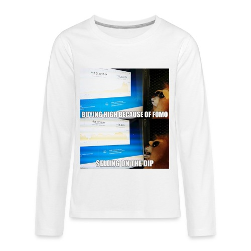 Crypto Lion Buying High and Selling Low - Kids' Premium Long Sleeve T-Shirt