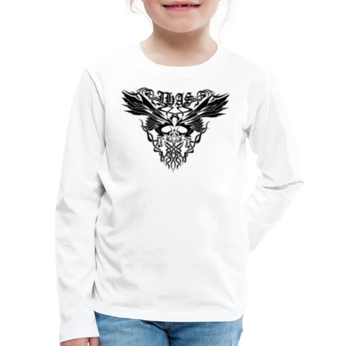 Vintage JHAS Tribal Skull Wings Illustration - Kids' Premium Long Sleeve T-Shirt