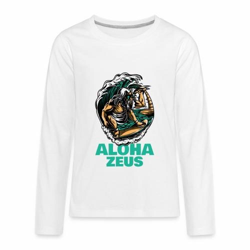 Aloha Zeus: Surfing God - Kids' Premium Long Sleeve T-Shirt