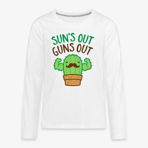 Sun's Out Guns Out Macho Cactus - Kids' Premium Long Sleeve T-Shirt
