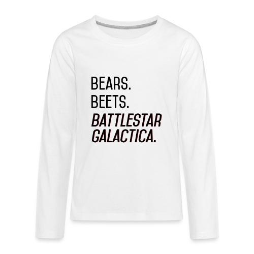 Bears. Beets. Battlestar Galactica. (Black & Red) - Kids' Premium Long Sleeve T-Shirt