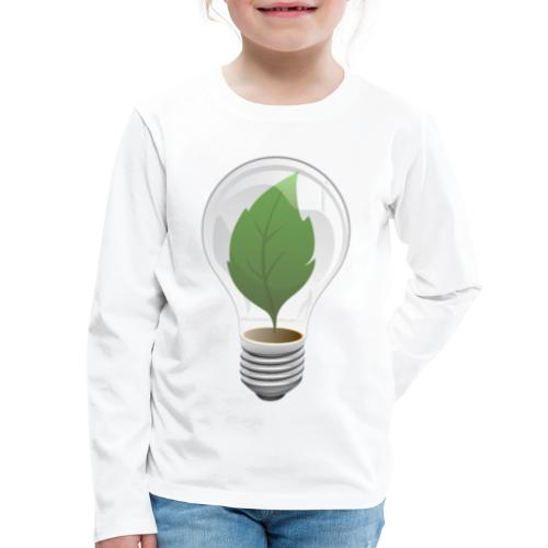 Clean Energy Green Leaf Illustration - Kids' Premium Long Sleeve T-Shirt