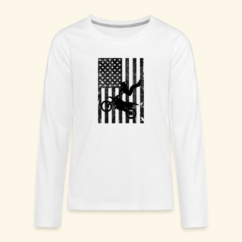 American Flag (Black and white) - Kids' Premium Long Sleeve T-Shirt