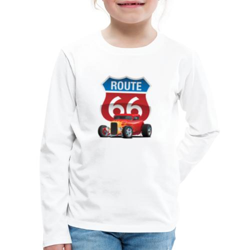 Route 66 Sign with Classic American Red Hotrod - Kids' Premium Long Sleeve T-Shirt