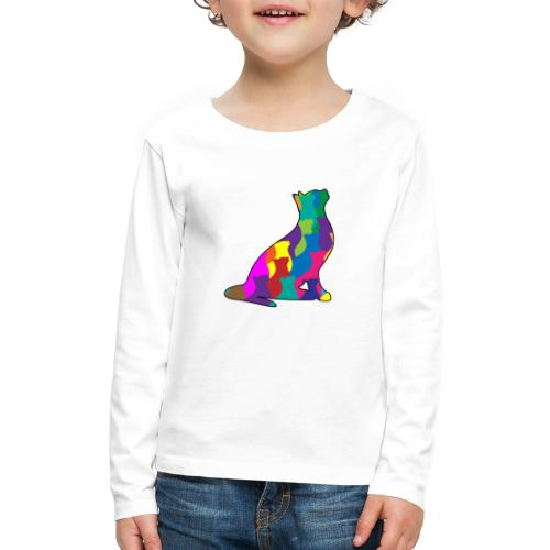 Colorful Cat Collage Silhouette - Kids' Premium Long Sleeve T-Shirt