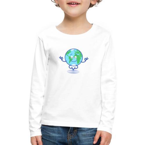 Planet Earth meditating and smiling - Kids' Premium Long Sleeve T-Shirt