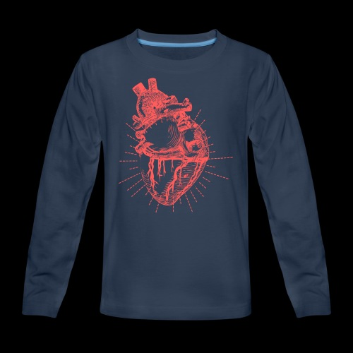 Hand Sketched Heart - Kids' Premium Long Sleeve T-Shirt