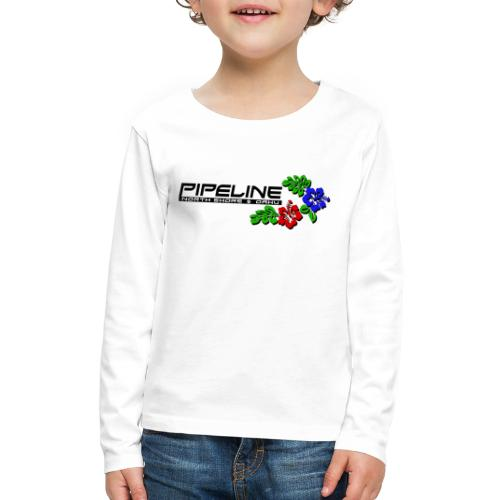 Pipeline North Shore w/ Colorful Hibiscus Flowers - Kids' Premium Long Sleeve T-Shirt