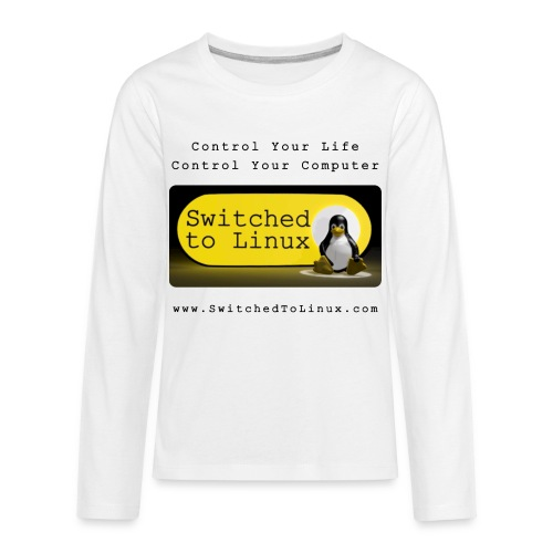 Switched to Linux Logo with Black Text - Kids' Premium Long Sleeve T-Shirt