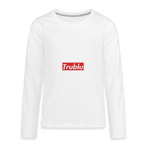 Trublu red box logo.(small) - Kids' Premium Long Sleeve T-Shirt