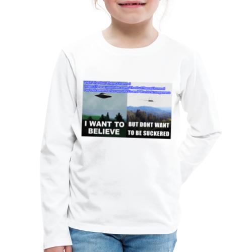 tshirt i want to believe with back Crew Logo - Kids' Premium Long Sleeve T-Shirt