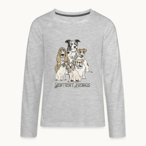 DOGS-SENTIENT BEINGS-white text-Carolyn Sandstrom - Kids' Premium Long Sleeve T-Shirt