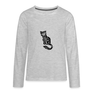 elegant-cat-with-bird-tattoo-design-5 - Kids' Premium Long Sleeve T-Shirt