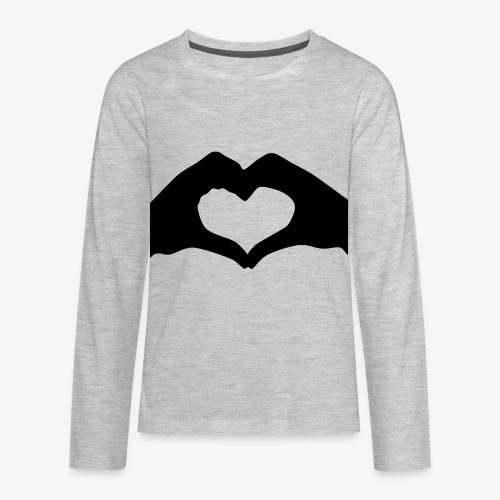Silhouette Heart Hands | Mousepad - Kids' Premium Long Sleeve T-Shirt