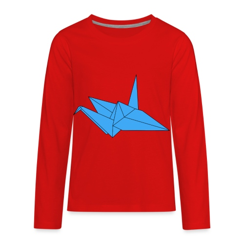 Origami Paper Crane Design - Blue - Kids' Premium Long Sleeve T-Shirt