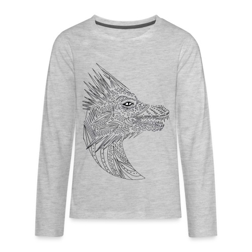 black art deco dragon head - Kids' Premium Long Sleeve T-Shirt