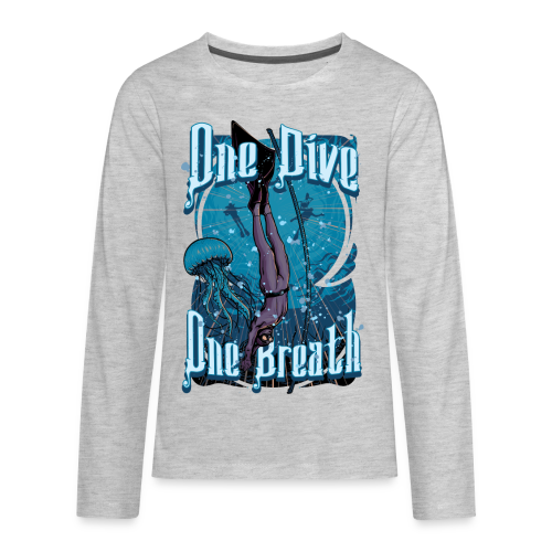 One Dive One Breath Freediving - Kids' Premium Long Sleeve T-Shirt