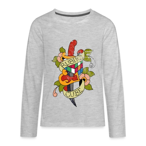Rubik's Cube Colorful Tattoo Distressed - Kids' Premium Long Sleeve T-Shirt