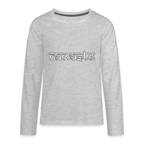 Namaste white sign with black border - Kids' Premium Long Sleeve T-Shirt