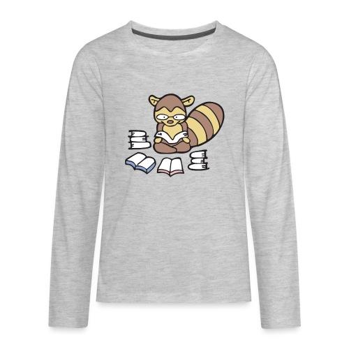 Reading Raccoon - Kids' Premium Long Sleeve T-Shirt