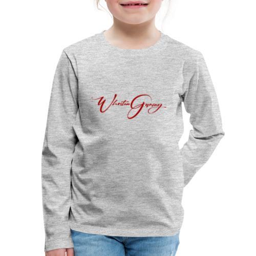 WhoStun gaming small calligraphy design RED - Kids' Premium Long Sleeve T-Shirt
