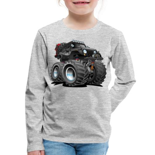 Off road 4x4 black jeeper cartoon - Kids' Premium Long Sleeve T-Shirt