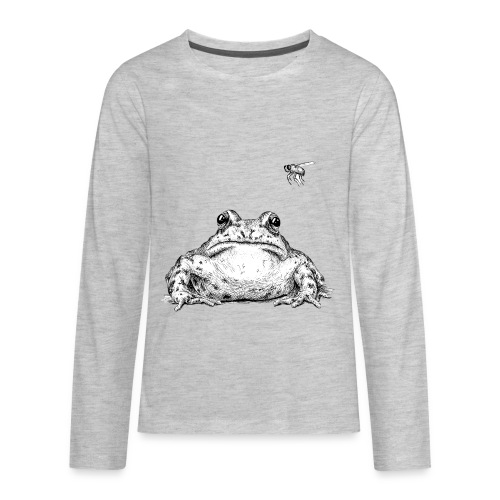 Frog with Fly by Imoya Design - Kids' Premium Long Sleeve T-Shirt