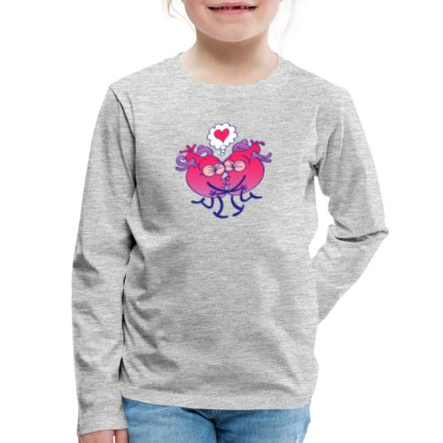 Couple of hearts in love kissing passionately - Kids' Premium Long Sleeve T-Shirt