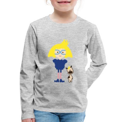 Blond Girl w/ Odd Fashion in Boots + Cute Dog - Kids' Premium Long Sleeve T-Shirt