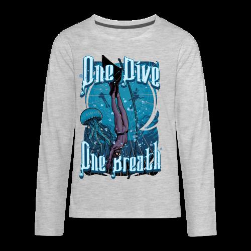One Dive One Breath Freediving - Kids' Premium Long Sleeve T-Shirt